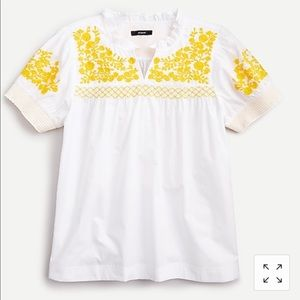 J Crew Embroidered Cotton Poplin Puff-Sleeves Top